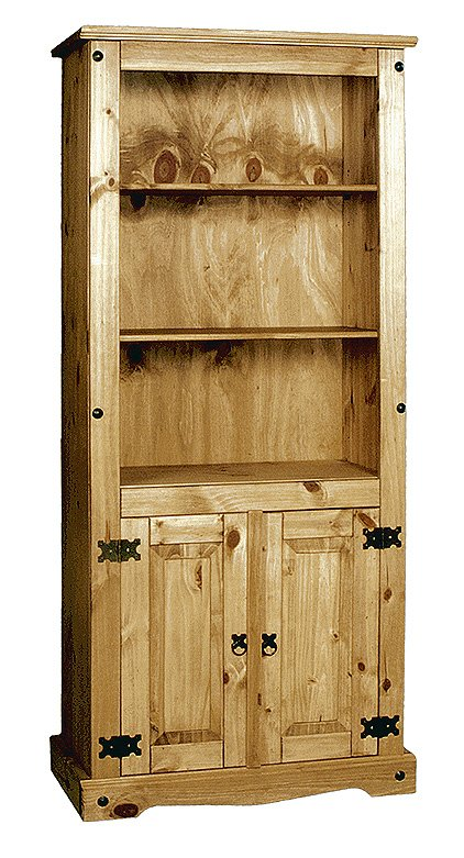 100% Solid Cheap Oak Corona Bookcase with Doors