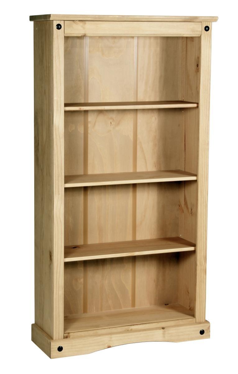 100% Solid Cheap Oak Corona Bookcase Medium with 3 Shelves