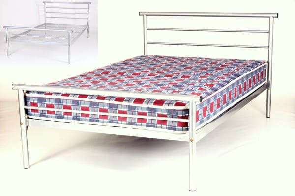 Cheap Beds Online Hercules Contract Metal Bed 4 Foot Silver