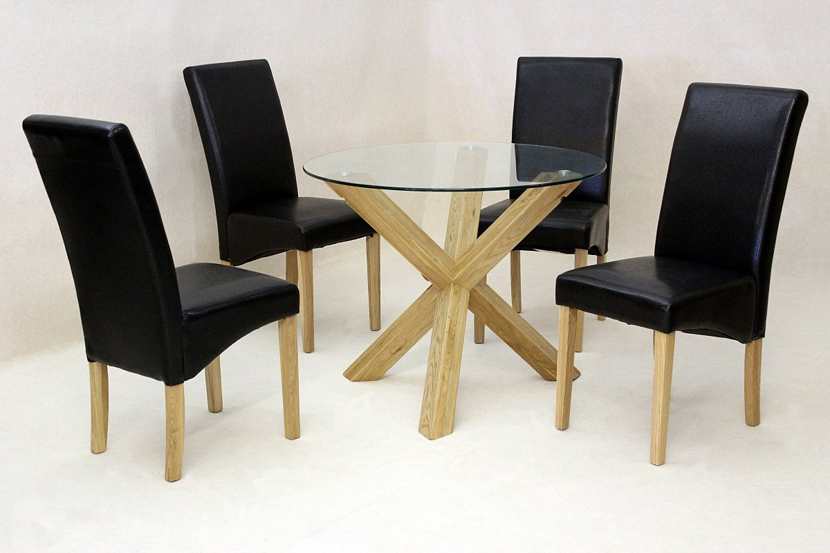 100% Oak Saturn Large Solid Oak Dining Table Glass 1400mm Round with 6 Chairs