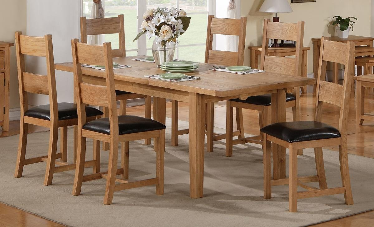 100% Oak Stirling Dining Set Fixed 1400mm 6 Chairs