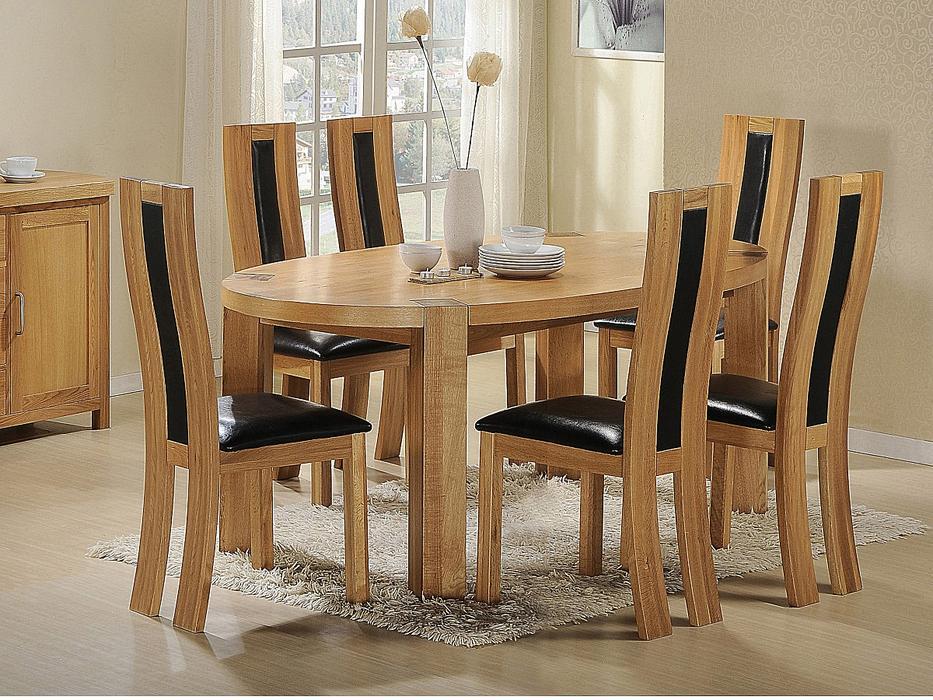 100% Oak Zeus Oval Dining Set Oak 6 Chairs