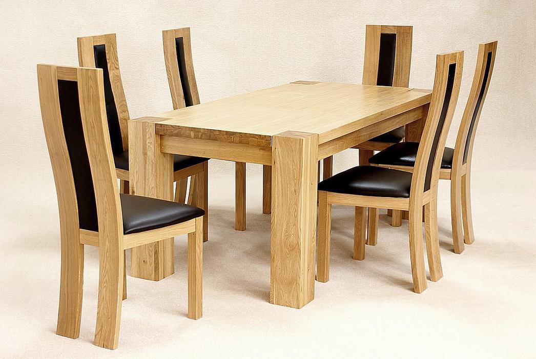 Zeus Rectangle Dining Set Oak 6 Chairs