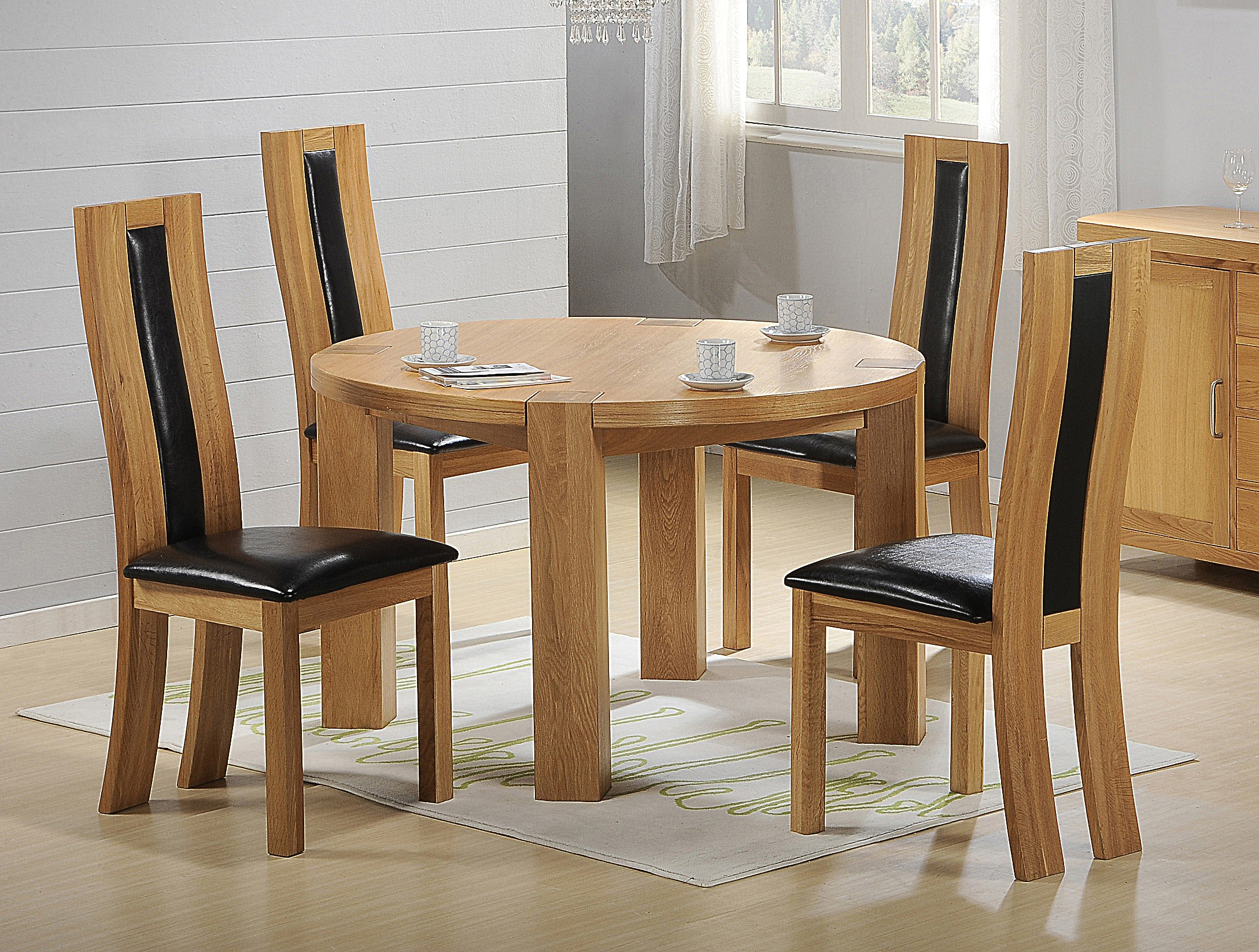 100% Oak Zeus Round Dining Set Oak 4 Chairs