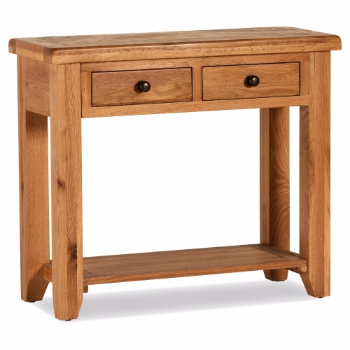 100 % Solid Oak Orland 2 Drawer Console Table | Furniture Villa
