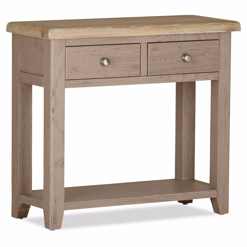 100 % Solid Oak Scotia 2 Drawer Console Table | Furniture Villa