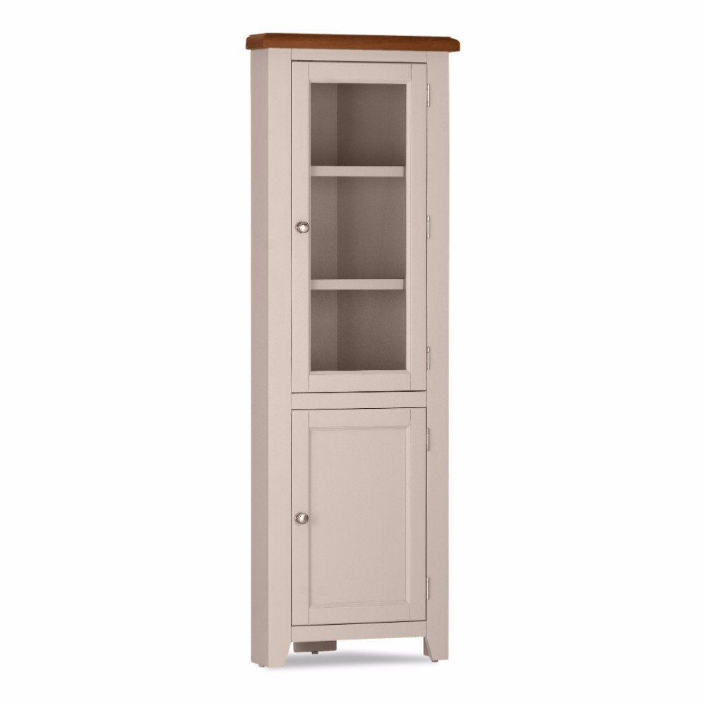 Great Deals on Oak Vinton High Corner Display | Furniture Villa Online